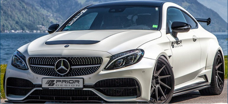 Сумасшедший обвес ВайдБоди (WideBody) от Prior Design на Mercedes C-Coupe в кузове С205