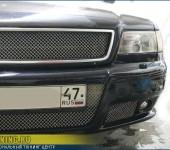 Установка переднего тюнинг-бампера на Ауди ( Audi ) A8 и видоизменение решетки радиатора.