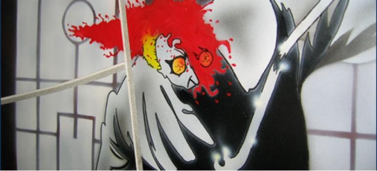 Аэрография на сноуборде - японское кровавое аниме