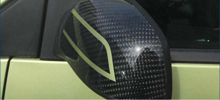 Покрытие настоящим 100% карбоном корпусов зеркал на Форде Фиесте (Ford Fiesta)