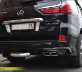 Установка накладки на задний бампер на новый Лексус (Lexus) LX450d
