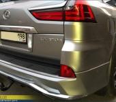 Установка и окраска накладки на задний бампер на Лексусе (Lexus) LX570