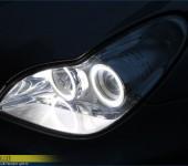 Установка суперярких светодиодных Ангельских Глазок ( Angel Eyes ) SMD в фары Мерседеса ( Mercedes ) CLS W219