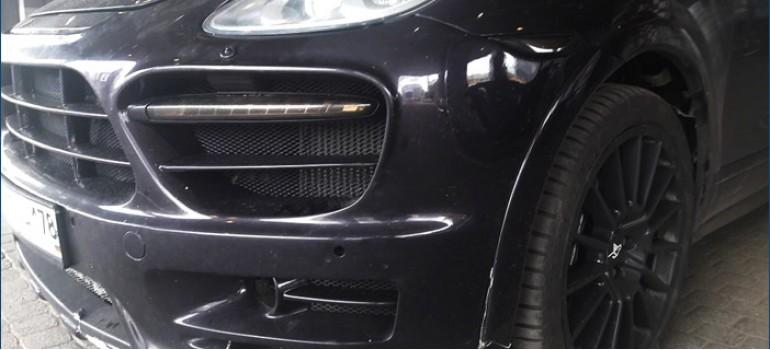 Замена переднего бампера из обвеса Хаманн ( Hamann ) на Порше Кайен ( Porsche Cayenne ) 958