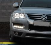 Установка супер-ярких Ангельских Глазок ( Angel Eyes ) SMD в фары Фольксвагена Туарега ( Volkswagen Touareg ).