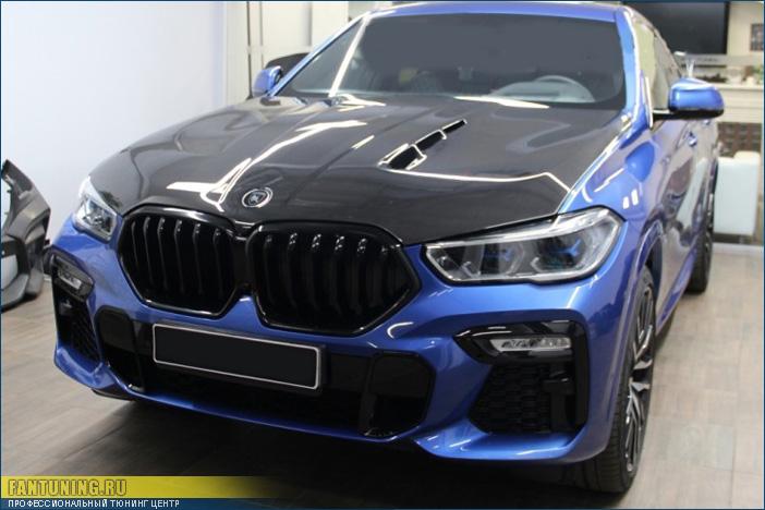 Тюнинговый карбоновый капот на БМВ (BMW) X6 G06