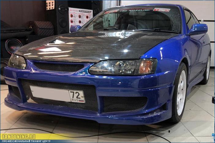 Установка переднего бампера на Тойоту (Toyota) Levin на быстросъемы