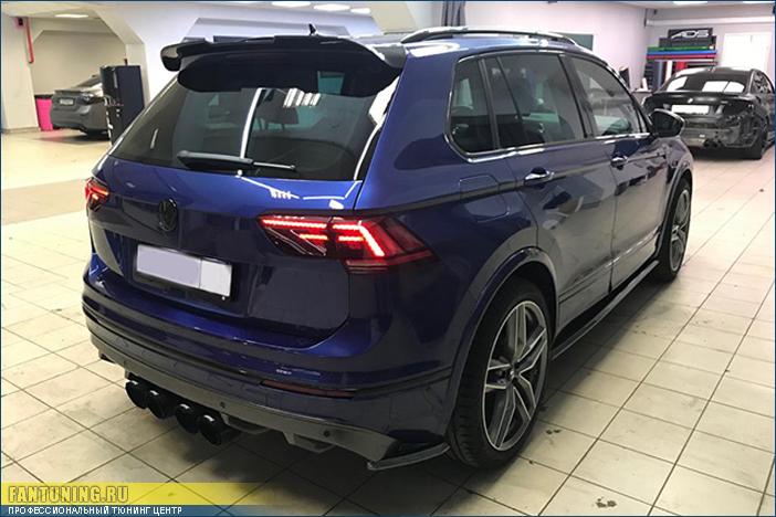 Элероны под задний бампер на Фольксваген Тигуан (Volkswagen Tiguan) MK2 R-Line/Sportline