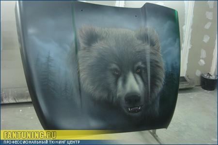 Аэрография на ТАГАЗе - Медведь в тумане