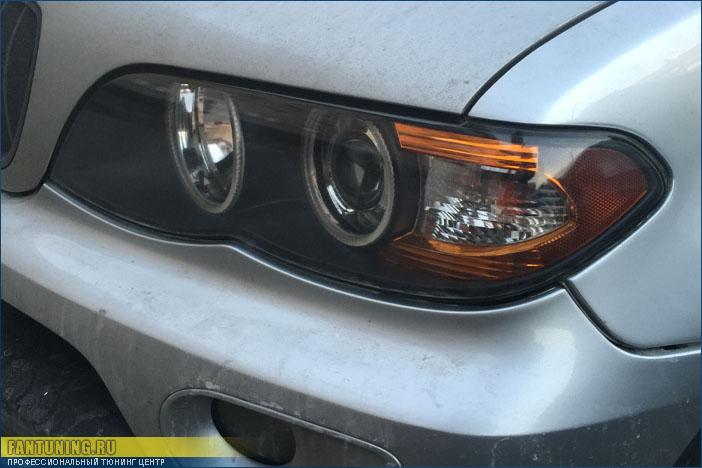 Полировка и бронирование фар и замена тусклых штатных ангельских глазок на сверхъяркие светодиодные SMD на BMW X5 E53