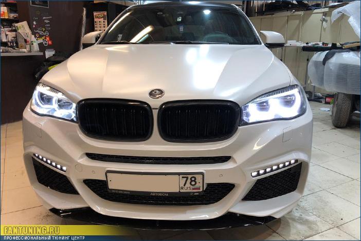 Установка и окраска тюнингованого переднего бампера Конрад (Conrad) на BMW X6 F16