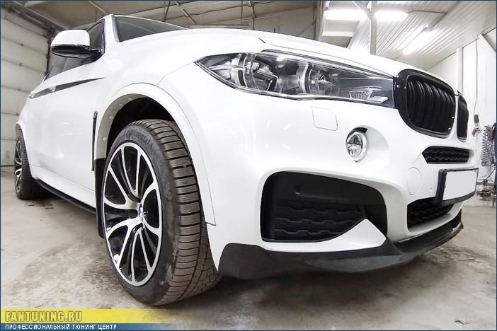 Подгонка и установка карбонового обвеса в стиле M-Performance на БМВ (BMW) X6 F16