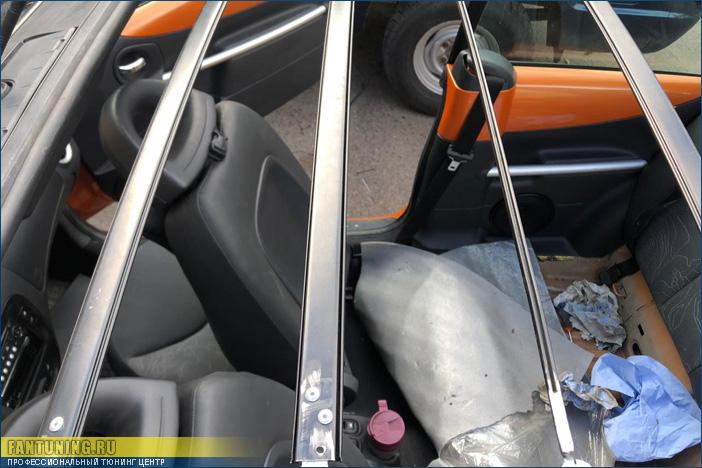 Небольшой ремонт кабриолетного верха на Ситроен (Citroen) C3 и установка музыки в кабриолет.