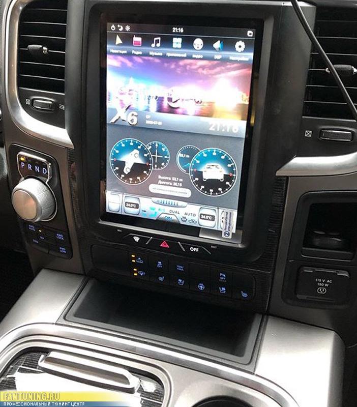 Установка магнитолы в стиле Tesla на Dodge RAM