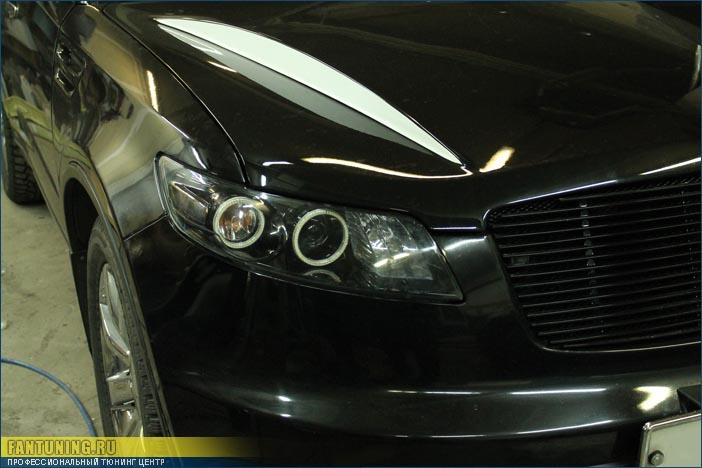 Установка сверхъярких светодиодных Ангельских Глазок ( Angel Eyes ) SMD и покраска внутренностей фар в черный глянцевый цвет на Инфинити ( Infiniti ) FX45
