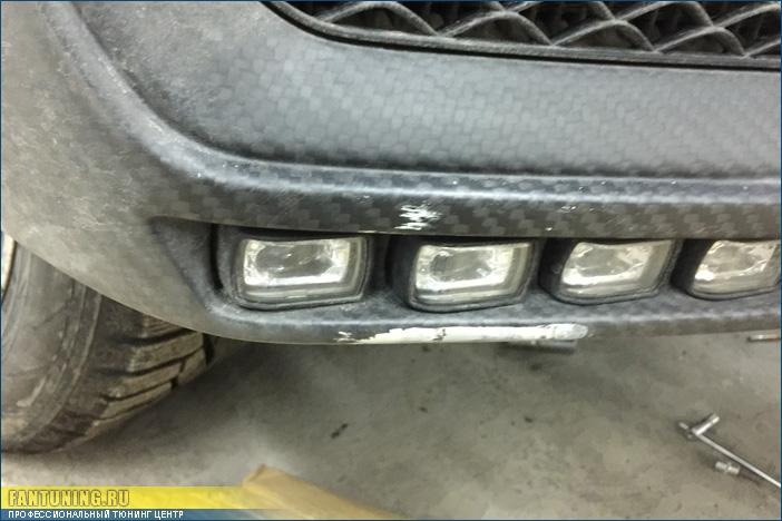 Ремонт карбонового бампера из обвеса Брабус (Brabus) WideStar на Мерседесе (Mercedes) G-Klasse