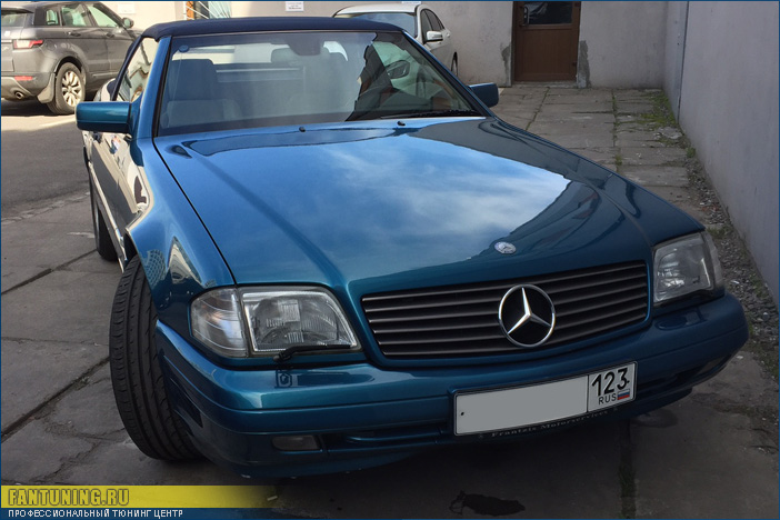 Замена мягкого кабриолетного стекла на Мерседесе (Mercedes) SL W129
