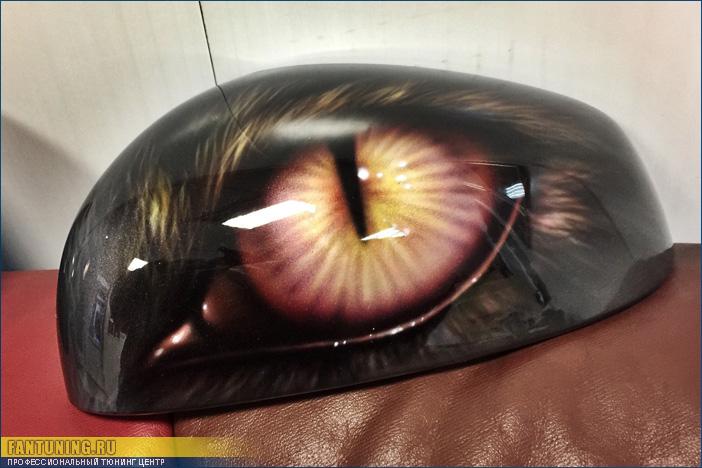 Нестандартная аэрография - Глаза Кошки на зеркала Смарт Брабус (Smart Brabus)