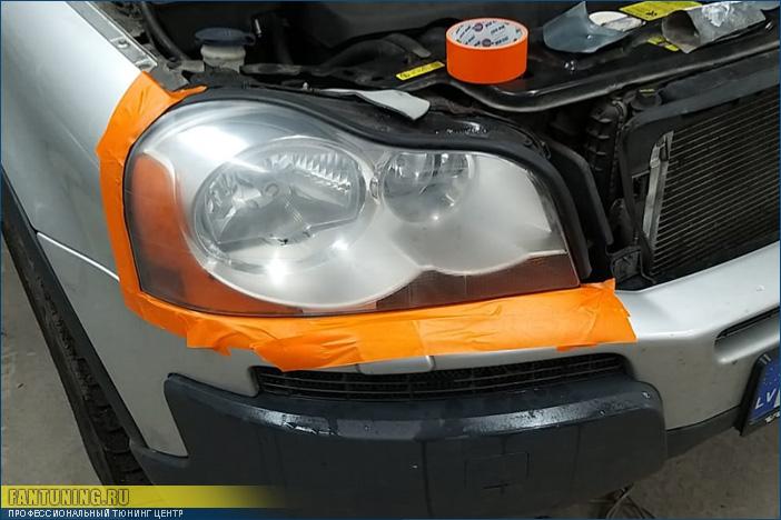 Полировка передней оптики (фар) на Volvo XC90